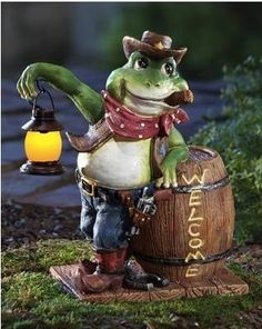 Country Western Cowboy Lighted Welcome Frog Garden Statue Outdoor Yard Decor