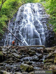Hike the Crabtree Falls Trail, just off the Blue Ridge Parkway north of Asheville, to two gorgeous waterfalls set in a lush forest