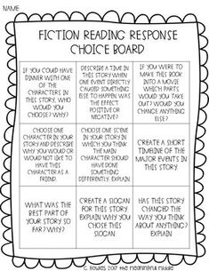 Reading Response Choice Boards (Fiction, Nonfiction, and Editable Templates) 8th Grade Ela, Middle School Reading, First Grade Reading, Grade 3, Reading Resources, Reading Strategies, Teaching Reading, Reading Comprehension, Reading Response