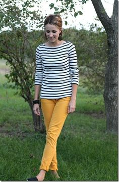 mustard jeans, black and white stripes