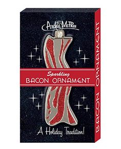 Instead of hanging a pickle ornament on your Christmas tree, hang this strip of bacon. In fact, decorate the entire tree in bacon ornaments. Weird Gifts, Quirky Gifts, Crazy Gifts, German Christmas, Christmas Store, Christmas Treats, Hanging Ornaments, Glass Ornaments, Christmas Pickle Ornament