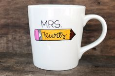 Personalized Teacher Coffee Mug Hand Painted Pencil with teacher's name! by MorningSunshineShop, $15.00