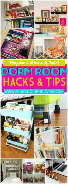 Dorm Room Hacks and College Tips What didn't I think of that? Dorm Room Hacks and College Tips for Freshman and everyone - dorm room ideas to create efficient space on Frugal Coupon Living. Dorm Hacks, College Hacks, Dorm Tips, College Crafts, College Supplies, School Supplies, Dorm Room Food, Diy Dorm Room, Diy Room Decor For College