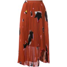 Proenza Schouler pleated embroidered midi skirt (6.100 BRL) ❤ liked on Polyvore featuring skirts, mid calf length skirts, sheer midi skirt, embroidered skirt, pleated mid length skirts and sheer pleated skirt