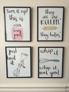 nice Watercolor Kitchen Puns Set of 4