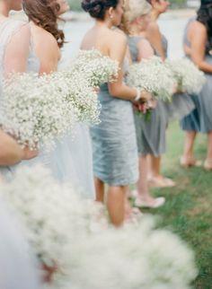 Bridesmaids simplistic baby's breath bouquets