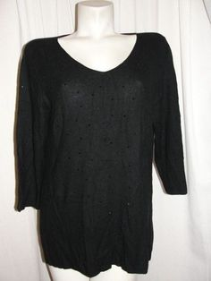 J. JILL Top Black Jewel/Gem Embellished 3/4 Sleeve Knit Shirt Women's Size Large #JJill #Pullover #CasualCareer