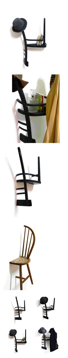 chair as shelf, great idea very Alice in wonderland
