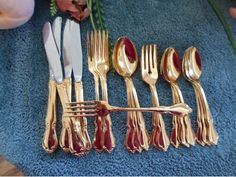 CHATEAU Oneida Craft Deluxe 18/8 USA Stainless Gold Electroplate 24pcs 4 Place…