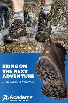 Get out and hit the trail this summer with deals on outdoor footwear from Academy Sports + Outdoors®. Discover a huge range of outdoor-ready styles from all your favorite brands including Columbia®, Timberland, and The North Face. Order today and get free shipping on all footwear orders over $25. Exclusions apply. Visit academy.com for details.