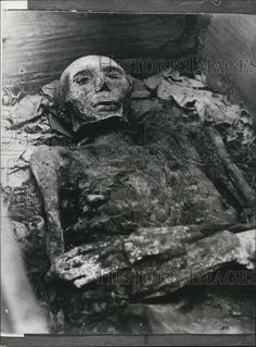 This is an original press photo. A burial for an exiled Earl who has been dead for 400 years: Queen Margrethe of Denmark has ordered that the third husband of Mary Queen of Scots should recieve a proper burial, nearly 400 years after his death. Photo shows the mummified body of James, Earl of Bothwell who was forced into exile and died at Dragsholm castle in 1578.