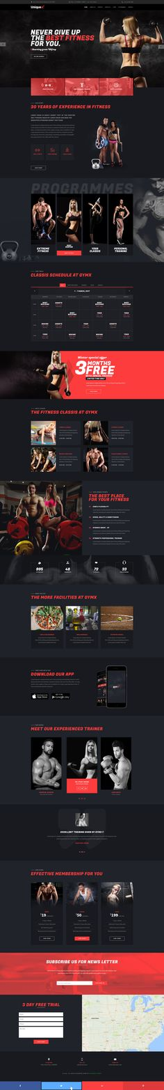 UniqueX - Gym and Fitness Landing Page #gym #gym fitness #gym psd • Download ➝ https://themeforest.net/item/uniquex-gym-and-fitness-landing-page/19635954?ref=pxcr