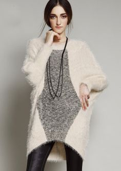 long fluffy sweater. I'd like to wrap myself in it!