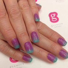 Get colorful ombré nails from Glamour Gels. Hundreds of color combinations to chose from! #ombre #nailart #funnails #glamourgels