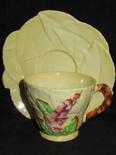 Carlton Ware teacup & saucer set in a highly collectible 1940's yellow Foxglove pattern.