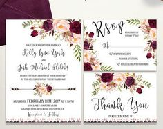 Rustic Wedding Invitation Printable Floral by PreppyDigitalArt