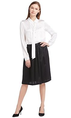 3a51bfdde9ed LILYSILK Women's Office Wear Combo of Silk Shirt and Skirt 22 Momme Pure  Silk Size L