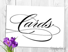 Cards Sign for Your Wedding Reception Printable 5x7 by StickyStick, $5.00