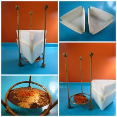 VTG 1950s MID Century Modern Atomic Ashtrays Plastic & Metal Gold Caddy Stand