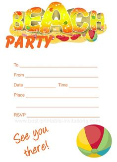 Beach Party Invitation - Free printable party invites from www.best-printable-invitations.com