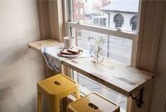 Turn a window sill into a breakfast bar. Perfect for looking out into your backyard or onto your neighborhood. DIY Breakfast Bar.