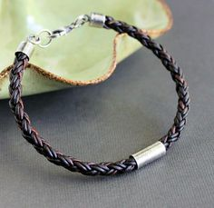 Leather Round Braid Bracelet with Silver Tube Bead