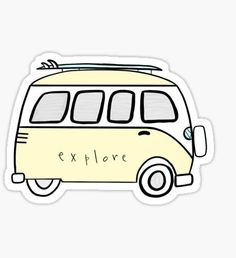 """yellow explore volkswagon"" Stickers by gretalohse Stickers Cool, Stickers Kawaii, Red Bubble Stickers, Tumblr Stickers, Phone Stickers, Printable Stickers, Surf Stickers, Snapchat Stickers, Aesthetic Stickers"