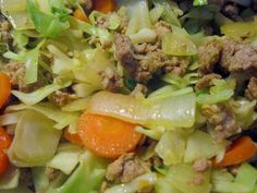 ground pork and cabbage.. 1lb ground pork, 1/2 head cabbage, 4 sliced carrots, onion, 1/4 turmeric, S