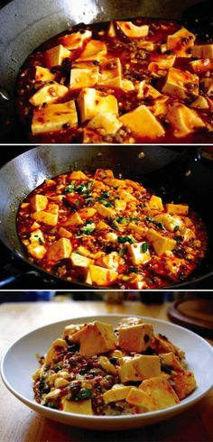 Tofu Authentic, Spicy Sichuan Ma Po Tofu - one of the most popular dishes in the world of Chinese cooking.Authentic, Spicy Sichuan Ma Po Tofu - one of the most popular dishes in the world of Chinese cooking. Chinese Chicken Recipes, Easy Chinese Recipes, Asian Recipes, Chinese Meals, Korean Tofu Recipes, Spicy Tofu Recipes, Indonesian Recipes, Orange Recipes, Recipe Chicken