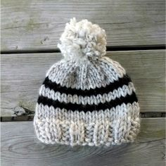 Knit a cute stripy hat with a big and fun pom pom! Perfect for Liam and Luke:)