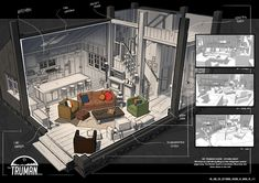 ArtStation - Truman show set design, Jian Zhi ( Jay ) Ng Scenery Background, Animation Background, Game Level Design, Game Design, Fallout 4 Settlement Ideas, The Truman Show, Isometric Art, Interior Sketch, Building Structure
