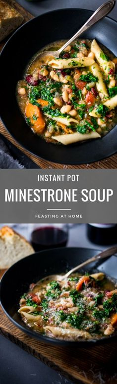 Instant Pot Minestrone Soup with pasta and beans- a fast and healthy weeknight dinner that can be made in under 30 minutes. Cozy and comforting, this delicious hearty stew is vegan and gluten free adaptable! | www.feastingathome.com #instantpotminestrone