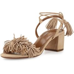 Aquazzura Wild Thing Fringe City Sandal (65.980 RUB) ❤ liked on Polyvore featuring shoes, sandals, biscotto, fringe shoes, block heel sandals, ankle strap sandals, ankle tie shoes and wrap sandals