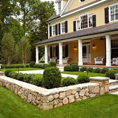Landscaping with stones in the front.