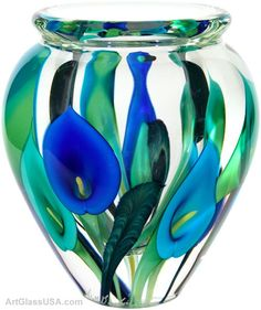 calas azules -glass art