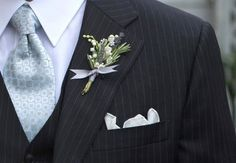 sage tie, lavendar and lily of the valley boutineer