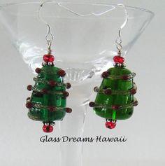 Handmade Lampwork Glass Holiday Dangle by GlassDreamsHawaii, $30.00