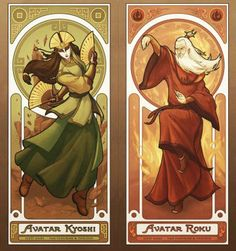 """These Are The Amazing Art Nouveau """"Legend Of Korra"""" Prints. Oh my gosh, amazing! Last four avatars including Aang and Korra Avatar Airbender, Avatar Aang, Team Avatar, Alphonse Mucha, Zuko, Legend Of Aang, Art Nouveau, Avatar Series, Avatar Book"""