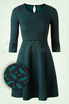 King Louie 60s Black and Green Circle Dress 102 39 15602 20150806 0005W1