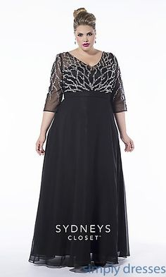 V-neck Plus Size Prom Dress with Sleeves at SimplyDresses.com