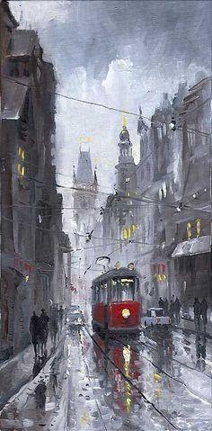 Gallery of artist Yuriy Shevchuk: Oil Cityscape Paintings, Prague Old Tram 03 Prague, Rain Painting, Art Watercolor, Desenho Tattoo, City Art, Beautiful Paintings, Fine Art America, Art Photography, Art Gallery