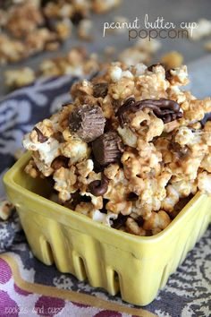 2 bags microwaved popcorn (lightly buttered) 2 cups honey roasted peanuts 4 cups Mini Peanut Butter Cups 3 cups peanut butter chips 1 Tbsp vegetable oil or shortening cup semisweet chocolate chips Popcorn Recipes, Snack Recipes, Dessert Recipes, Gourmet Popcorn, Cookie Recipes, Yummy Snacks, Delicious Desserts, Yummy Food, Yummy Yummy