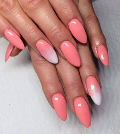 Coral nails with white glitter - LadyStyle