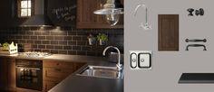 FAKTUM kitchen with ROCKHAMMAR brown wood effect doors/drawers and PRÄGEL black stone effect worktop