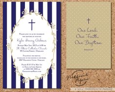 Baptism Christening or First Communion Invitation - Navy stripes design - Digital File Printable Customized