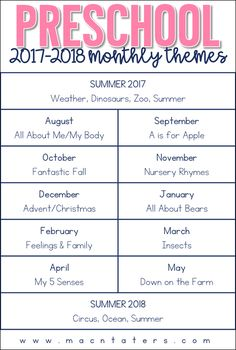 Preschool Curriculum Themes: A Free Literature Rich Preschool Curriculum
