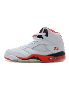 Nike Air Jordan 5 V Retro Mens Shoes White/Fire Red/Black