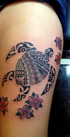 tribal hawaiian turtle tattoo
