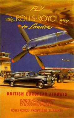 """Fly the Rolls-Royce way to London."" British European Airways"