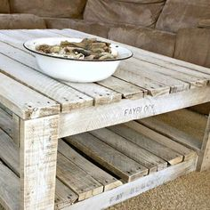Learn how to whitewash raw wood for a shabby chic finish. Free tutorial with pictures on how to make a coffee table in under 60 minutes by decorating with paint. How To posted by Alida Makes. Steps: 4 - April 13 2019 at Pallet Crafts, Diy Pallet Projects, Home Projects, Pallet Ideas, Pallet Home Decor, Craft Projects, Diy Crafts, White Washed Furniture, Painted Furniture